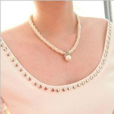 Fashion Women Pendant Chain Choker Chunky Pearl Statement Bib Necklace Jewelry…