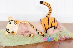 Crochet Tiger Set Character Tiger Hat & Diaper Cover w/ Tail Baby Set, Photo Prop, Picture Prop, Newborn, Baby, Infant, Beanie