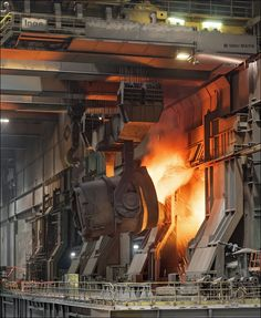 TATA Steel IJmuiden, charging the basic oxygen furnace Shop Buildings, Steel Buildings, Metal Shop Building, Building A House, Tata Steel, Industrial Machinery, Steel Mill, Industrial Architecture, Old Factory