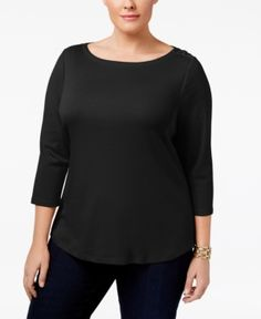 Charter Club Plus Size Cotton Boat-Neck Top, Only at Macy's -