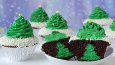 These chocolate cupcakes are topped with a frosting Christmas tree, and have Christmas tree-shaped cheesecakes hidden inside!