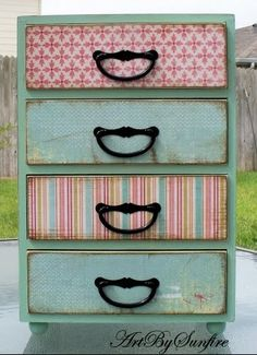 I love the paper covered drawers