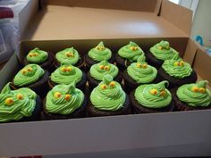 grinch cupcakes for read across america - I was limited by allergies - egg and nut free (some dairy in the frosting)