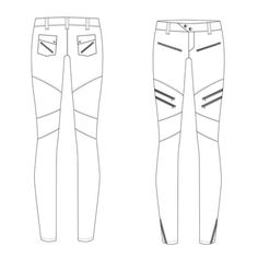 Women's Moto Pant Fashion Flat Template $ 1.99
