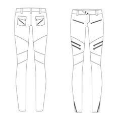 Women's Moto Pant Fashion Flat Template $ 1.99