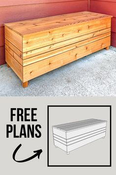 This outdoor storage bench is perfect for your front porch or patio! Hide away all the clutter in this DIY outdoor storage box! Get the free woodworking plans for this storage bench and get building! Diy Furniture Plans, Diy Furniture Projects, Diy Wood Projects, Outdoor Projects, House Projects, Outdoor Furniture, Outdoor Decor, How To Waterproof Wood, Outdoor Storage
