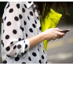 loose polka dot blouse paired with a neon clutch. Neon Clutch, Yellow Clutch, Neon Bag, Zooey Deschanel, Polka Dot Shirt, Polka Dots, Looks Style, Style Me, A Todo Confetti