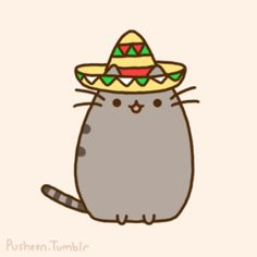 mexican pusheen cat viva mexico cute meow pet kawaii