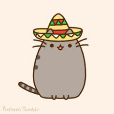 mexican pusheen cat viva mexico cute meow pet kawaii