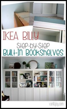 IKEA HACK: Bookshelves to Built-Ins. Lots of pictures, easy to follow tutorial, BEAUTIFUL result | VanillaJoy.com