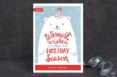Fuzzy Polar Bear Holiday Non-Photo Cards by Four Wet Feet Design at minted.com