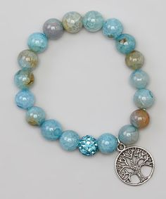 Look at this #zulilyfind! Silver & Blue Agate Tree of Life Stretch Bracelet by Jewelry by AMN #zulilyfinds