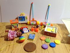 dolls House Handmade 10 Tiny Replica Fisher Price Toys 1/12 scale
