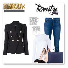 """What's new? / Le Skinny de Jeanne Ultra Skinny Jeans"" by clara-djen on Polyvore featuring mode, Balmain, Frame Denim, Osman, Gianvito Rossi et Loewe"