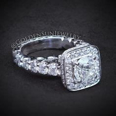 GOLDEN SUN JEWELRY: A beautiful diamond engagement rig with cushion shaped halo and hand engraving. @goldensunjewelry