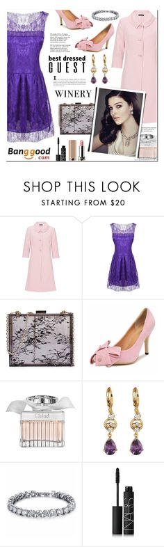 """""""Banggood 5 - Best Dressed Guest: Winery"""" by anyasdesigns ❤ liked on Polyvore featuring Vera Mont, Chloé, Tiffany & Co., Gatsby, NARS Cosmetics and Marc Jacobs"""