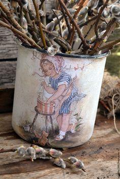 """Купить """"Маленькая хозяйка"""" большая кружка- ваза, для дачи, для дома - белый, кружка в подарок"""