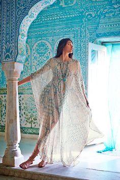 Mandara Silk Caftan #anthropologie