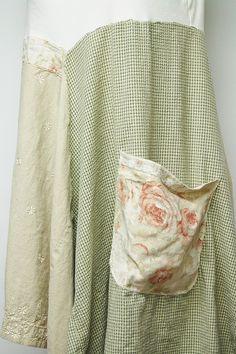 L/XL Long Boho Shabby Chic Tunic Dress Artsy by PrimitiveFringe