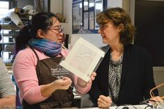 """Participants of the conservation course """"Inpainting and Loss Compensation on Paper"""". Kate Chan (Hong Kong), Chiara Fornaciari (Vatican Museum)."""