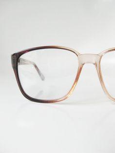 Vintage 1970s Mens Horn Rim Glasses Eyeglasses Optical Frames Oversized Boxy Deadstock NOS New Olds Stock 70s Coffee Light Brown Hipster