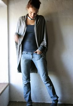 Long cardigan, Grey sweater, Oversize cardigan, Knit top, Draped shirt, shawl top, long sleeved cardigan, plus size womens clothes, hipster on Etsy, $76.53