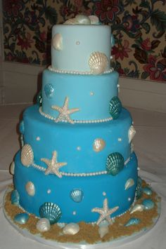 Beach Themed Wedding Cake - Beach Themed Wedding Cake with White Chocolate Seashell Accents