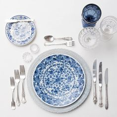Dusty Blue Lace Chargers + Blue Garden Collection Vintage China + Antique Silver Flatware + Dark Blue/Pressed Glass/Coupe Trios + Antique Crystal Salt Cellars // Casa de Perrin