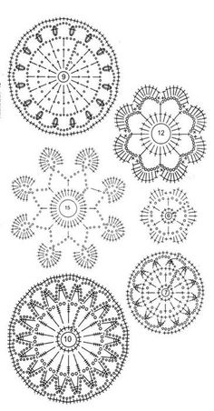 Irish lace, crochet, crochet patterns, clothing and decorations for the house, crocheted. DODA CROCHET: Un po' di schemi per il pizzo d'Irlanda - Irish crochet patterns Crochet motif charts - for my garden bench blankie Flowers and leaves crochet patterns Crochet Diy, Mandala Au Crochet, Crochet Stone, Freeform Crochet, Thread Crochet, Crochet Motif, Irish Crochet, Crochet Designs, Crochet Doilies