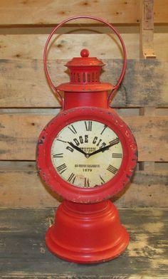 BiG RED RAILROAD LANTERN CLOCK*Dodge City*For Desk/Table/Shelf/Fireplace Mantel