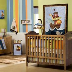 Noah's Ark Baby Nursery Theme BOY- I like the wall of diff colored stripes.....