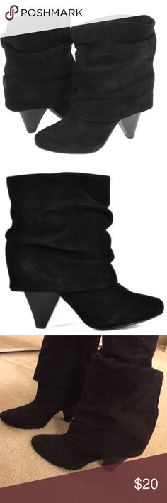 Black Cuffed Ankle Booties Chic looking cuffed/fold over boots, soft suede like material, 3.5 inch heel, perfect heel height for great comfort, worn several times, some normal wear to the sole and light scruffs to the heel but not very noticeable, still in good condition. Jeffrey Tyler  Shoes Ankle Boots & Booties