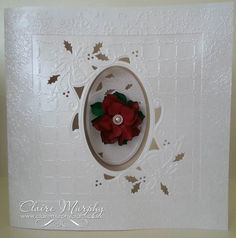 Crafters Companion Create a Card die Ring out Those Bells Centura pearl hint of silver Die'sire small rose quilling die Christmas Card Crafts, Christmas Cards To Make, Xmas Cards, Handmade Christmas, Holiday Cards, Small Rose, Crafters Companion, Flower Cards, Winter Holidays