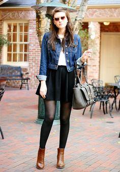 Shop this look on Kaleidoscope (skirt, jacket, bootie, sunglasses)  http://kalei.do/WjB9pgehA0rkWKyx