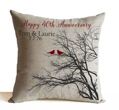 Ruby Anniversary Gift, Anniversary Pillow, Personalized Pillow Cover, Personalized Gift Gift For Parents, Gift For In-laws Custom Gift Anniversary Pillow Personalized Pillow Cover by AmoreBeaute. 20 Wedding Anniversary, Anniversary Gifts For Parents, Personalized Anniversary Gifts, Personalized Pillows, Personalized Gifts, Parent Gifts, Customized Gifts, Pillow Covers, Throw Pillows