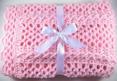 PDF Pattern Crocheted Baby Afghan, CAR SEAT Size and Newborn Size Blanket -- Rosebud Lace via Etsy