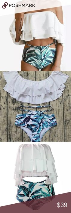 Leaf  bikini swim set Brand new with tags leaf bikini set. Size medium but does run small. Cute cut off side bottoms with off the shoulder ruffle top.  Absolutely stunning, perfect for the summer Swim Bikinis