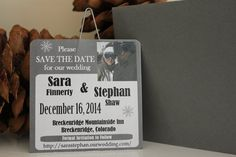 Ski Lift Ticket Save the Date by sparkleandink on Etsy, $4.00