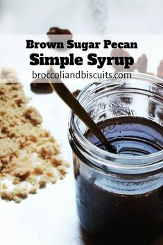 This Brown Sugar Pecan Simple Syrup is super easy and versatile. Pour it on pancakes or waffles, mix it into cocktails, or spoon it over ice cream. Brown Sugar Simple Syrup Recipe, Make Brown Sugar, Brown Sugar Syrup, Syrup Recipes, Make Simple Syrup, Strawberry Simple Syrup, Sugared Pecans, Coffee Shop