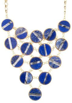 """RITZO STATEMENT NECKLACE - gold with lapis and agate - 16"""" on shopstyle.com"""