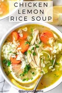 Similar to Chicken Noodle Soup, this Chicken Lemon Rice Soup is a cozy and comforting recipe full of hearty vegetables, chicken and a homemade lemony broth! | Soup Recipes | Chicken Soup | Healthy Soup | Simple Recipes #chickensoup #souprecipes #healthysoup #lemonsoup #feelgoodfoodie