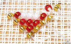 Hvordan sy med perler. – Vevstua Bull-Sveen Hardanger Embroidery, Beaded Bracelets, Beads, Holiday Decor, Embroidery, O Beads, Pearl Bracelets, Bead, Pearls