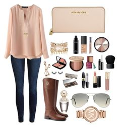 """""""All things pink"""" by emmaleeml ❤ liked on Polyvore featuring Tory Burch, River Island, Betsey Johnson, Michael Kors, NARS Cosmetics, Urban Decay, Smashbox, MAC Cosmetics, Lancôme and Too Faced Cosmetics"""