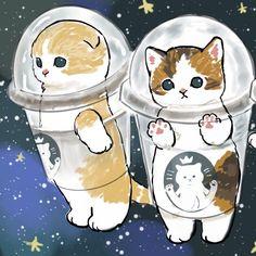 Kitten Drawing, Cute Cat Drawing, Cute Cartoon Drawings, Cute Animal Drawings, Kittens Cutest, Cute Cats, Kawaii Art, Pretty Art, Cat Art
