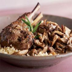 Spring Lamb Chops on Oyster Mushrooms Recipe