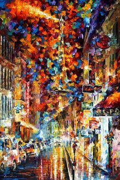 "Title:NIGHT IN PARIS by Leonid Afremov  Size:24X36""&nbsp%..."