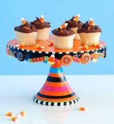 Glitterville Halloween Candy Cupcake / Cake Pedestal Stand, 6.5 Inch