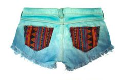 Tribal Aztec Navajo Southwestern Ethnic Print Mint Teal Blue Dyed Handmade Denim Destroyed Distressed Boho Coachella from GirlMeetsClothes on Etsy. Painted Shorts, Painted Jeans, Kawaii Clothes, Diy Clothes, Fashion Tips For Women, Passion For Fashion, Chill Style, My Style, Tribal Shorts