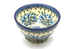 Polish Pottery Bowl Pedestal Small Blue Bells * You can find out more details at the link of the image. Blue Bells, Baking Dishes, Polish Pottery, Pottery Bowls, Pedestal, Cookware, Decorative Bowls, Handle, Tableware