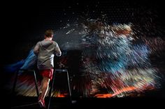 An interactive running installation that transforms your portrait into a Force of Nature.   Using Kinect interaction and a treadmill fitted with custom sensors, the installation takes the runner through a journey of immersive visual effects that amplify the feeling of getting into a running flow.   Created for the April 2015 Nike Innovation Summit at Truman Brewery, London.  http://www.field.io/project/nike-force-of-nature/